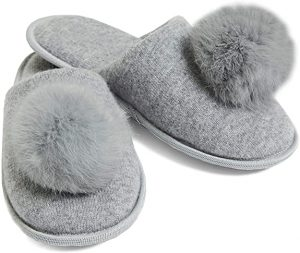 Cashmere House Slippers with Pom Poms