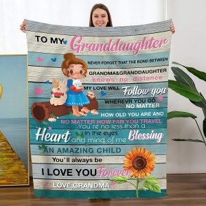 Personalized To My Granddaughter Throw Blanket Custom Name Fleece Blanket Funny Presents